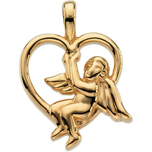 14K White Gold Angel Heart Pendant