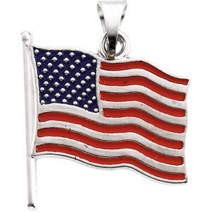 14K White Gold American Flag Pendant