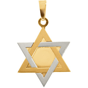 14K Yellow Gold/White Two Tone Star Of David Pendant