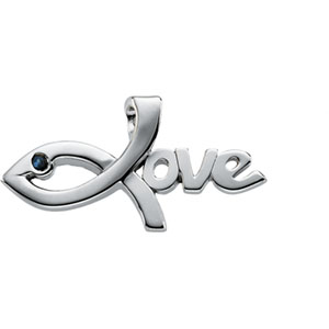 14K White Gold Love Pendant With Sapphire