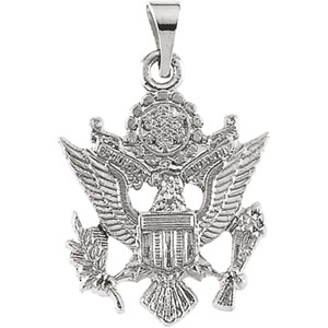 14K White Gold Us Army Pendant