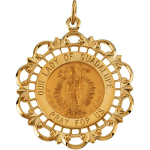 14K Yellow Gold Our Lady Of Guadalupe Pendant