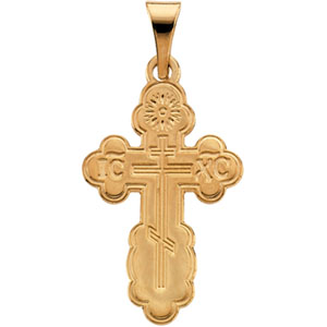 14K Yellow Gold Die Struck Orthodox Cross