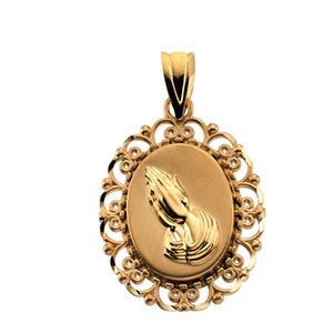 14K Yellow Gold Praying Hands Hollow Pendant Pendant