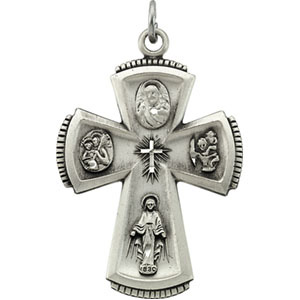 Sterling Silver 4-Way Cross Pendant with Chain