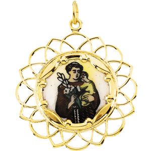 10K Yellow St.Anthony Framed Enamel Pendant