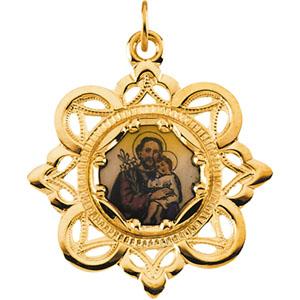 10K Yellow St.Joseph Framed Enamel Pendant