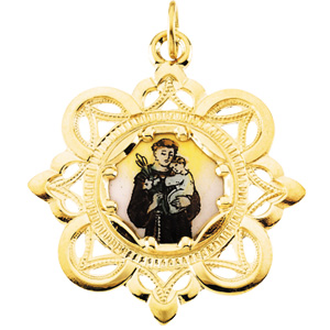 10K Yellow St. Anthony Framed Enamel Pendant