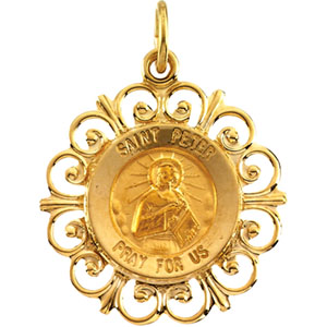 14K Yellow Gold Round St Peter Pendant Pendant