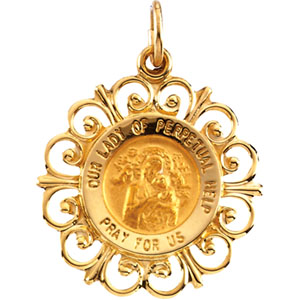 14K Yellow Gold Round Perpetual Help Pendant Pendant
