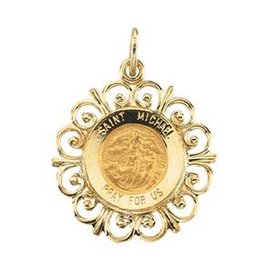 14K Yellow Gold Round St Michael Pendant Pendant