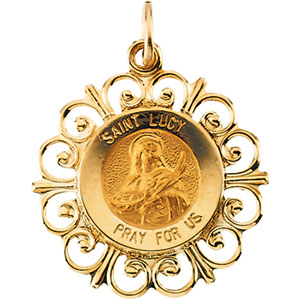 14K Yellow Gold Round St Lucy Pendant Pendant