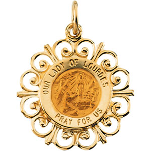 14K Yellow Gold Round Our Ldy Of Lourdes Pendant