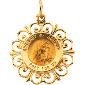 14K Yellow Gold Round Our Ldy Of Sorrows Pendant Pendant