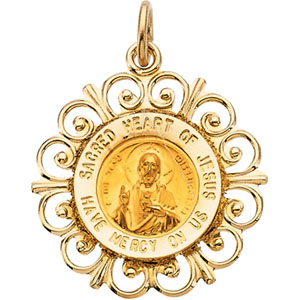 14K Yellow Gold Round Sacred Heart Of Jesus Pendant Pendant