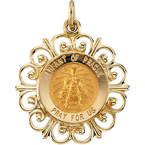 14K Yellow Gold Round Infant Of Prague Pendant Pendant