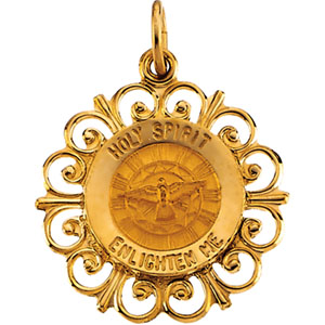 14K Yellow Gold Round Holy Spirit Pendant Pendant