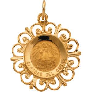 14K Yellow Gold Round Caridad Del Cobre Pendant Pendant