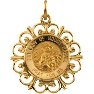14K Yellow Gold Round Mount Carmel Pendant Pendant
