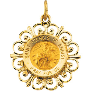 14K Yellow Gold Round St Francis Of Assisi Pendant Pendant