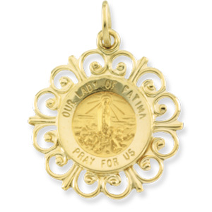 14K Yellow Gold Round Our Ldy Of Fatima Pendant Medl