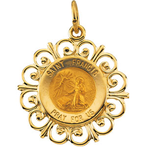 14K Yellow Gold Round St Francis Pendant Pendant
