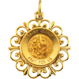 14K Yellow Gold Round St George Pendant Pendant