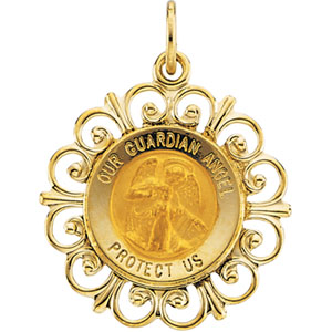 14K Yellow Gold Round Guardian Angel Pendant Pendant