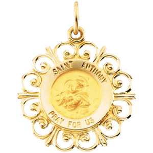 14K Yellow Gold Round St Anthony Pendant Pendant