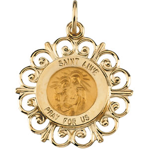 14K Yellow Gold Round St Anne Pendant Pendant