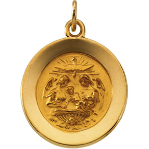 14K Yellow Gold Round Baptism Pendant Pendant