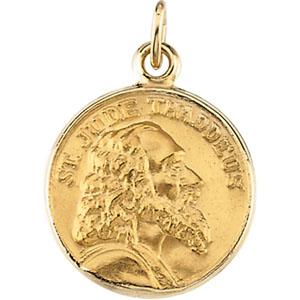 14K Yellow Gold Round St Jude Thaddeus Pendant Pendant