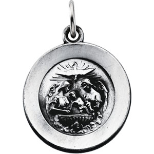 Sterling Silver Round Baptism Pendant Pendant with Chain