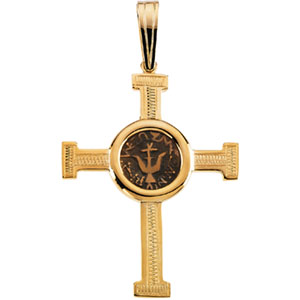 14K Yellow Gold Engraved Cross Pendant