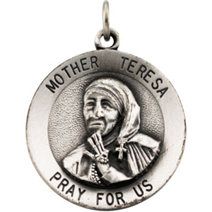 Sterling Silver Pendant Pendant Round Mother Teresa with Chain
