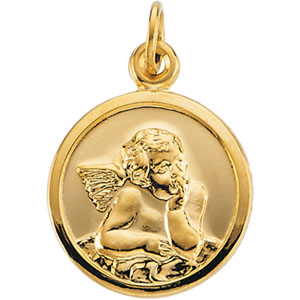 14K Yellow Gold Guardian Angel Pendant