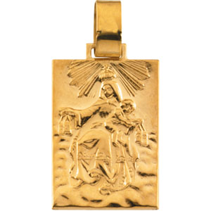 14K Yellow Gold Our Lady Of Mt. Carmel Pendant
