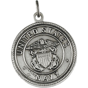 Sterling Silver St. Christopher/Us Navy Pendant with Chain