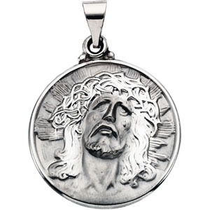 14K White Gold Hollow Face Of Jesus Pendant