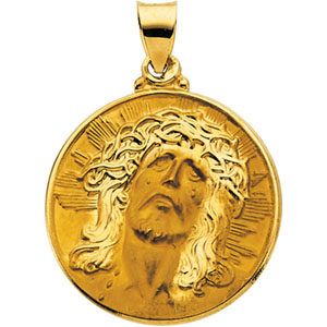 14K Yellow Gold Hollow Face Of Jesus Pendant