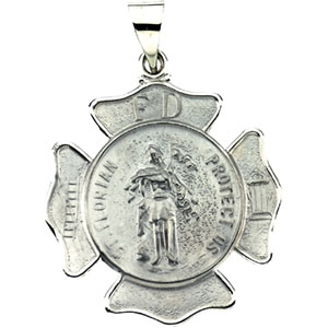 14K White Gold Hollow St. Florian Pendant