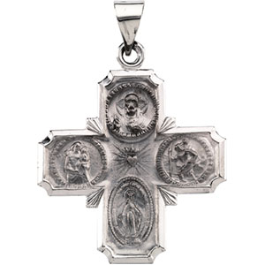 14K White Gold Hollow Four Way Cross Pendant