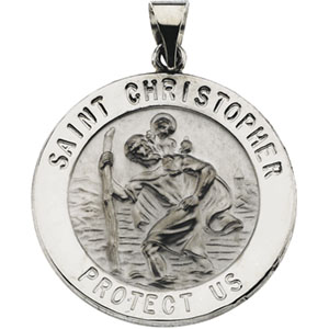 14K White Gold Round Hollow St. Christopher Pendant