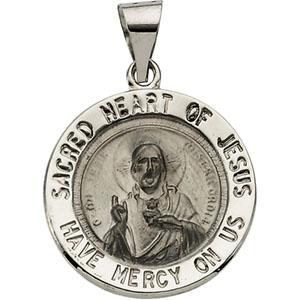 14K White Gold Round Hol Sacred Heart Of Jesus Pendant