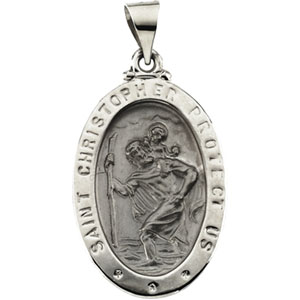 14K White Gold Ov Hollow St. Christopher Pendant
