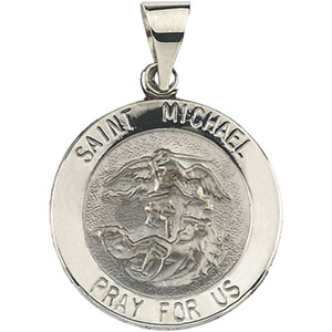 14K White Gold Round Hollow St. Michael Pendant