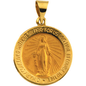 14K Yellow Gold Round Hollow Miraculous Medal