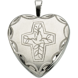 Sterling Silver Cross With Dove Locket with Chain