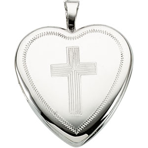 Sterling Silver Locket With Cross with Chain