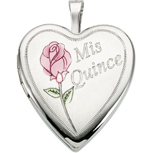 Sterling Silver Quince Anos with Rose Locket with Chain